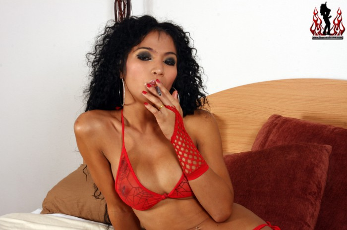 Ladyboy Odette Smoking